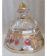 ANTIQUE NORTHWOOD BUTTER DOME LID ONLY EAPG Ruby Flashed Gilt STRAWBERRY... - $24.70