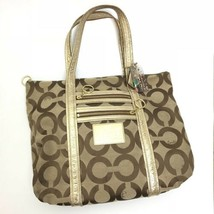 COACH Poppy Op Art Glam Signature Khaki Gold Large Tote CO967-13826 - $28.70