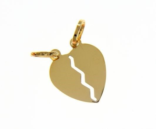 18K YELLOW GOLD DOUBLE BROKEN HEART PENDANT CHARM ENGRAVABLE MADE IN ITALY