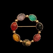 12K Gold-Filled Egyptian Revival Scarab Wreath Brooch by Winard - $25.00