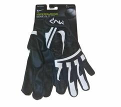 Nike Softball Hyperdiamond Edge Batting Gloves Black Womens Men's Medium Leather - $24.70