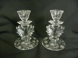 Pair of Vintage Fostoria Chintz Etched Baroque Flame Single Candle Holders - $49.99