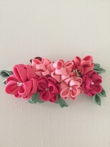 Pink flowers, Green leaves, Hair clip on the ba... - $12.00