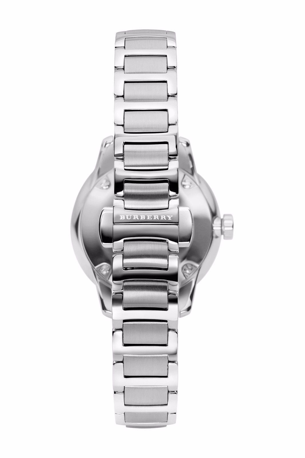 BURBERRY BU10108 Silver Stainless STEEL The Classic Round Ladies Watch NIB