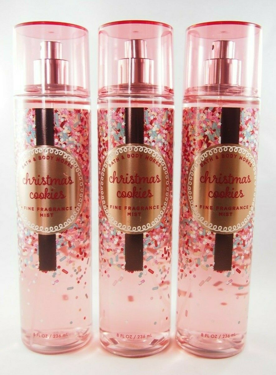 Primary image for (3) Bath & Body Works Red Christmas Cookies Fragrance Mist Spray 8oz New