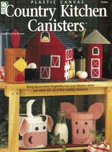 Plastic Canvas 5 Country Kitchen Canisters Red Barn Silo Cow Pig Rooster... - $13.99