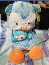 NWT Animal Adventure Blue Owl Plush Holding Baby 2018 Soft Stuffed Anima... - $14.00