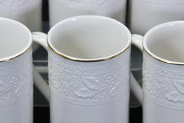 """Libbey White Embossed Holly Cups Mugs Xmas Gold Trim 4.25"""" Lot of 8 image 2"""