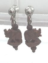 Vintage Carved Elephant Dangle Drop Earrings Brown Wood 24203 - $8.01