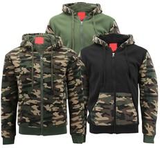 MX USA Men's Army Camo Zip Up Sherpa Hoodie Fleece Hunting Sweater Jacket image 1