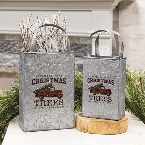 Primary image for Old Farm Truck Metal Christmas Totes 2 Set Floral Holder Gifts