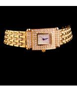 Couture jeweled Bracelet watch - blue crystal - Adriene golden wristwatc... - $185.00