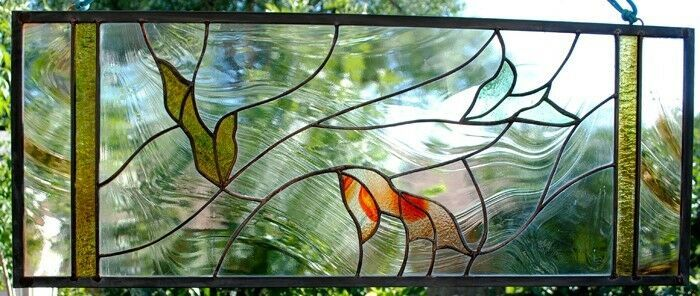 Stained Glass Window Clear Transom sidelight leaf