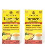 2 Packs of Hyleys Turmeric with Green Tea Ginger and Lemon Flavor 25 tea... - $10.99
