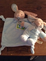 Dandee Blue Security Blanket and My First Bunny Plushed Rattle Striped Bow NWT - $26.72