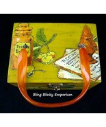 Decoupage Wood Box Purse Vintage 1970s Lucite Handle Recipe Themed Harve... - $32.62