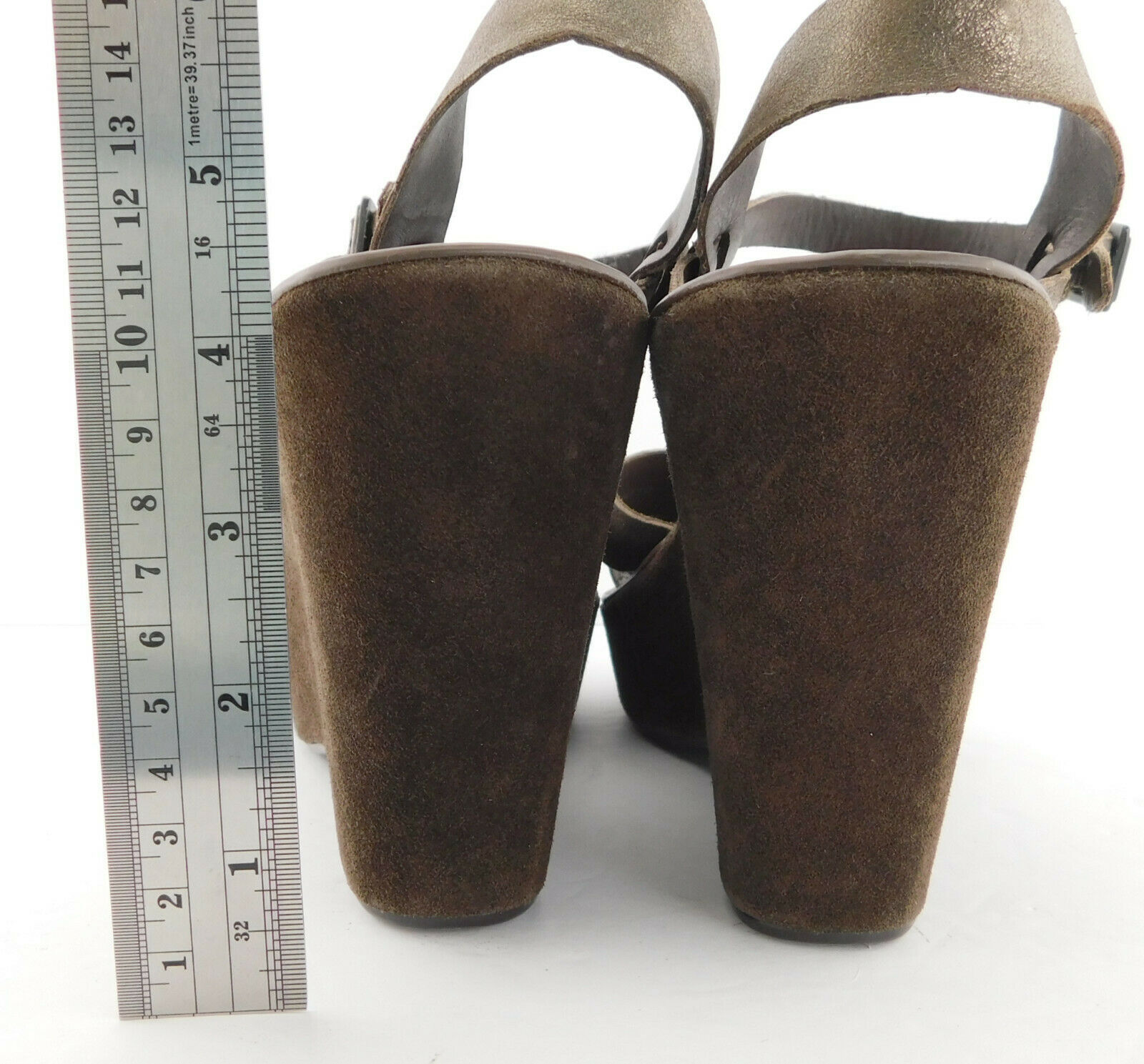 KORK EASE Size 8 AVA Bronze Metallic Wedge Ankle Strap Sandals Shoes 39