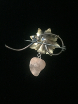 Antique 1900s flower & vine brooch with Agnus Dei Heart dangle and mixed stones image 3