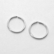 18K WHITE GOLD ROUND CIRCLE HOOP EARRINGS DIAMETER 8 MM x 1 MM, MADE IN ITALY image 1