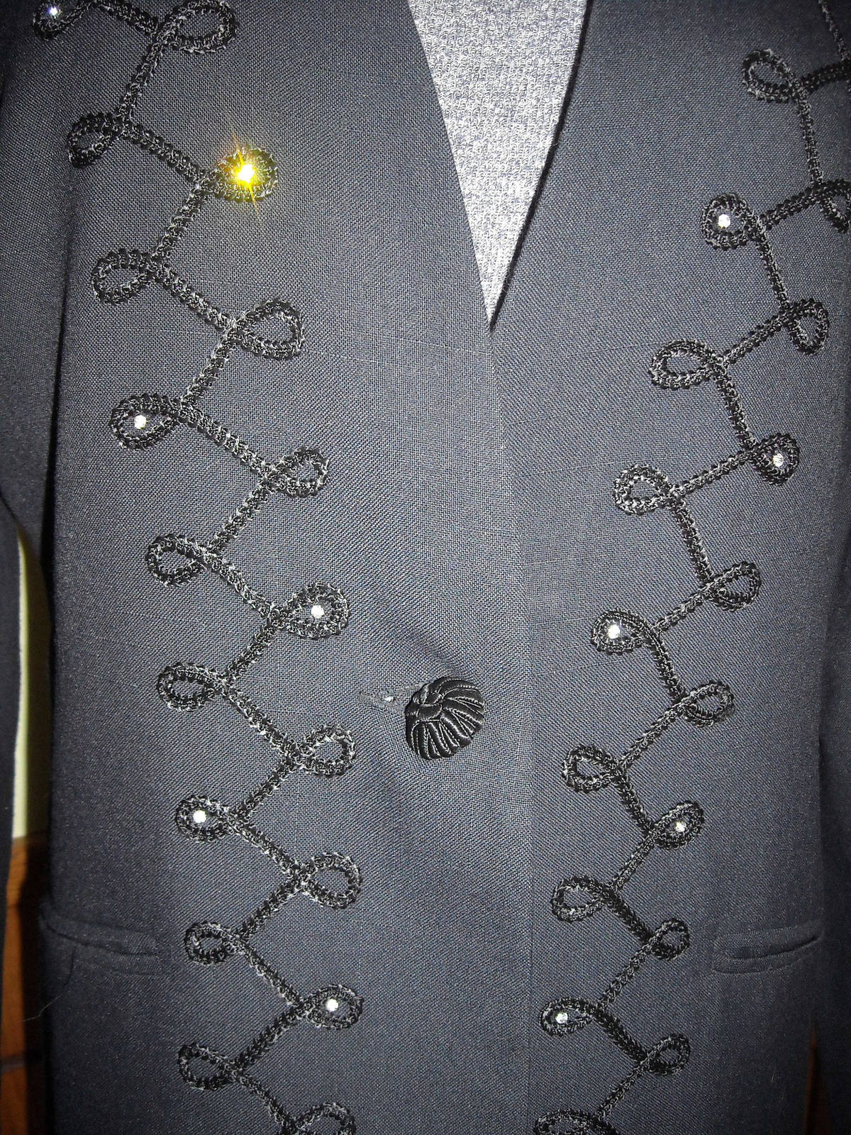 Women's Executive Collection Black Dress Jacket With Embroidery & Rhinestones 14 image 2
