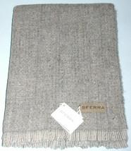 "Sferra Gigia Grey Fringed Throw Blanket Soft Wool Blend 53x70"" Italy New - $168.90"