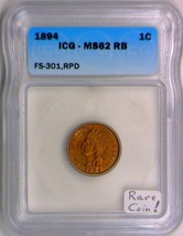 1894 Indian Cent ICG MS-62 RB; FS-301, 1894/1894; Rare Coin! - $1,781.99