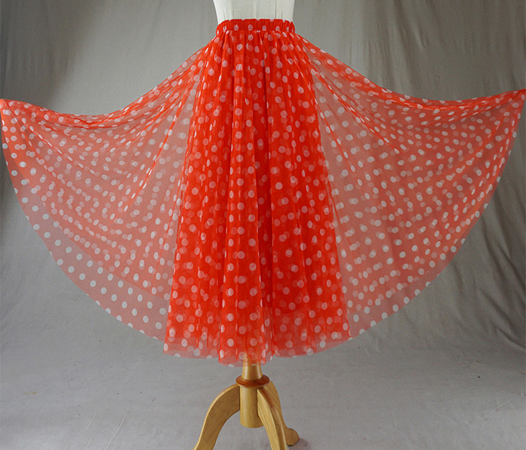 Tulle skirt orange dot 8