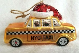 Pottery Barn New York City Taxi Yellow Cab Christmas Ornament 2014 Santa Hat - $49.99