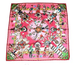 Hermes Scarf Kachina by Kermit Oliver Pink Silk 90 cm with Box Carre Sha... - $573.21