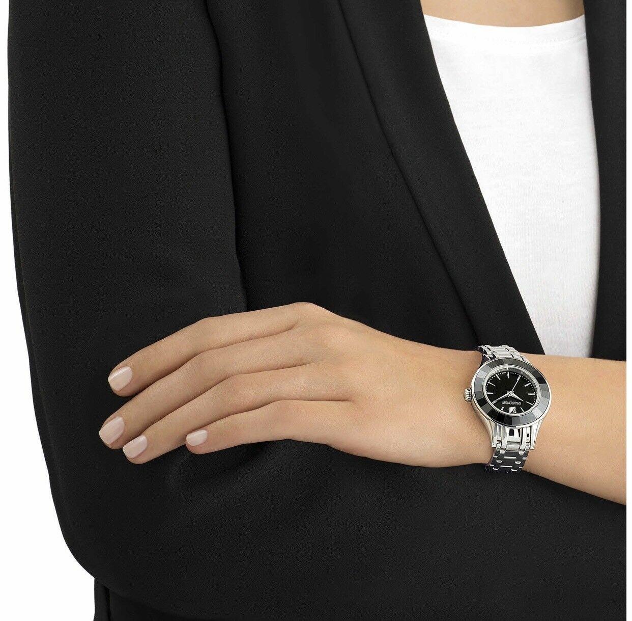 Swarovski Crystal ALEGRIA WATCH, METAL BRACELET BLACK SILVER Ladies Authentic