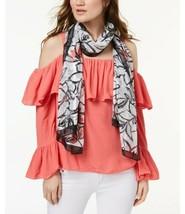 Calvin Klein Floral-Print Chiffon Scarf (Dark Pink, 21″x72″) - $24.51