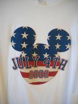 Walt Disney July 4th 2002 Mickey Mouse American Flag Stars & Stripes T-Shirt XL - $13.72