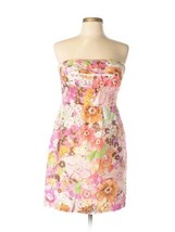 J Crew Floral Strapless Silk Ruffle Colorful Watercolor Dress Size 2 - $58.41