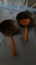 "2 Vintage Cast Iron Skillets, Never Used,  Wooden Handles 8"" & 10"" . - $32.71"