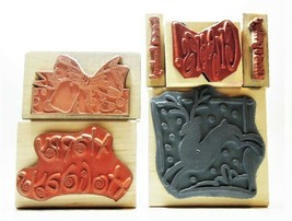 NEW STAMPS! Set of 6 Christmas-Themed Rubber Stamps Mounted on Wood image 2