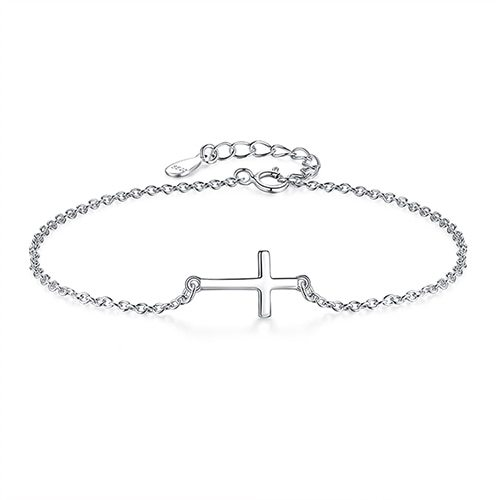 Fashion 925 Sterling Silver Bracelets for Women Zirconia Crystal Cross Charm Br