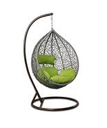 Island Gale Outdoor Brown Wicker Rattan Hanging Swing Egg Chair Hammock ... - $479.22