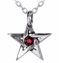 Red Crystal Center Protective Amulet Pentagram Pendant Alchemy Gothic P365 - $19.00