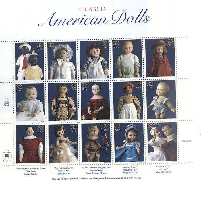 1997 American Dolls Sheet of 15 US Postage Stamps Scott's #s 3151 Two Sheets image 2