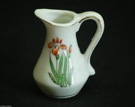 Old Vintage Mini Ceramic Pitcher Iris Flower Designs & Gold Trim Shadowbox Decor - $6.92
