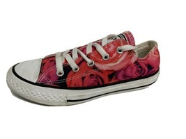 Converse all star youth girls sneakers low top textile roses size 1 - $21.45
