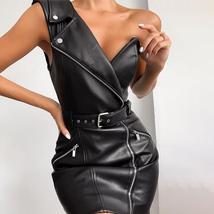 Faux Leather One Shoulder Biker Coat Style Black Vinyl Club Dress image 6