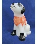Fenton White Satin Glass Pirate Dog Hand Painted Signed  Paperweight/Figurine  - $64.35