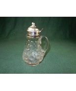 Vintage Glass Coin Dot Syrup Pitcher, Stamped 1890s, Thumbprint Pattern,... - $48.95