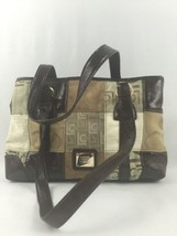 Liz Claiborne LC Shoulder Bag Brown Gold Canvas Faux Leather Medium Size - $24.50