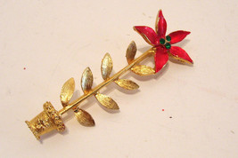 Mylu Christmas Brooch Poinsetta Gold Tone with Green Rhinestones Signed - $28.99