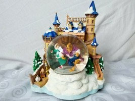 Disney's Beauty and the Beast Ice Skating Castle Musical Snowglobe Small Flaw - $118.70