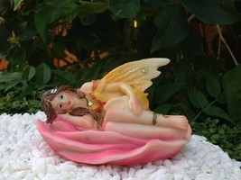 Miniature Pastel Yellow Fairy Laying in Pink Flower ~ NEW ~ ***FREE SHIP... - $9.74