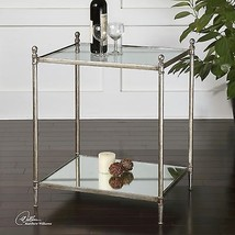 URBAN MODERN FORGED IRON BASE MIRROR SHELF GLASS TOP END SIDE ACCENT TABLE  - €268,92 EUR