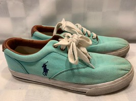 POLO Ralph Lauren Vaughn TEAL Green Casual Sneakers Shoes Men's Size 8.5 D - $14.25